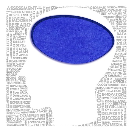 Blank head with brain speach and Word cloud outside for business concept photo