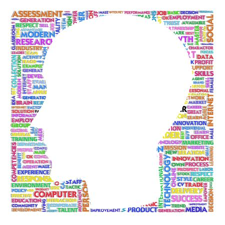 improving: Blank head with brain speach and Word cloud outside for business concept