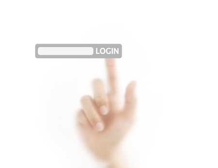 Finger login button on touch screen Stock Photo - 12760970