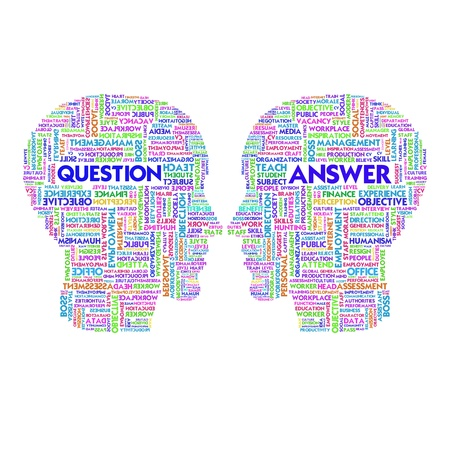 Word cloud business concept inside head shape,question and answer