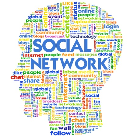 topic: Head with the words on the topic of social networking and media Stock Photo