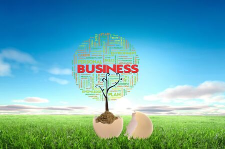 Business growth concept with tree cloud text in the egg Stock Photo - 12761693