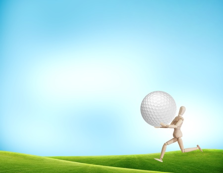Wooden run with golf ball on the course photo
