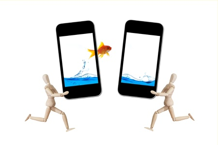 gloden: Mobile phone with gloden fish splash