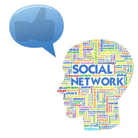 Head with the words on the topic of social networking and media photo