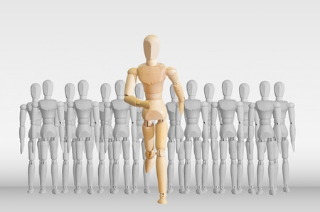 Wooden model in the crowd for human resource concept Stock Photo - 12761438