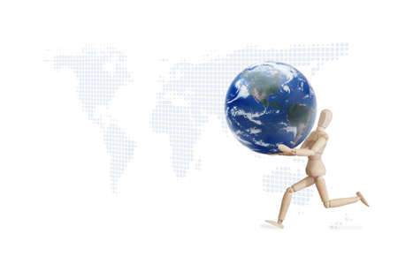 Wooden model running with planet on the hand Stock Photo - 12761384