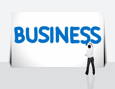 Business man paint business word on white background photo