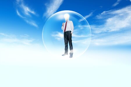 Business man  model inside the balloon Stock Photo - 12934671