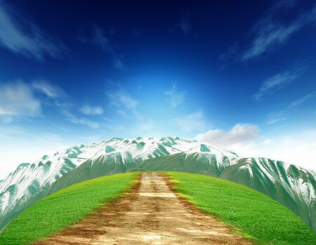 Rural summer landscape with old road mountain and bluesky Stock Photo - 13172101
