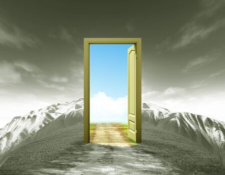 A door taking on summer landscape with old road mountain and bluesky Stock Photo - 13172095