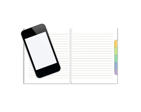 Notebook with mobile phone isolated on white background Stock Photo - 13172083