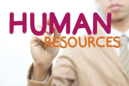 Young business man use hand drawing business word, Human resource photo