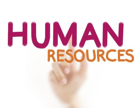Finger pressing business word,Human resources photo