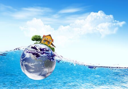 Earth and house falls deeply under water with a splash.Elements of this image furnished by NASA