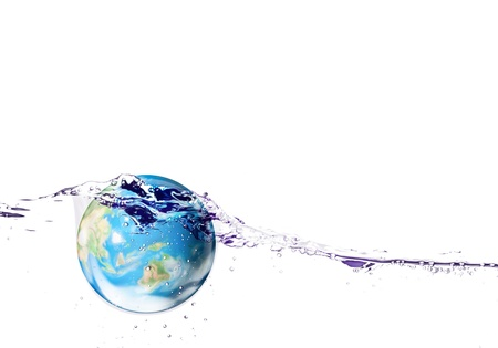 deeply: Wooden model with earth falls deeply under water with a splash.Elements of this image furnished by NASA