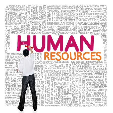 Human Resource: Business man paint business wording concept on tag cloud background