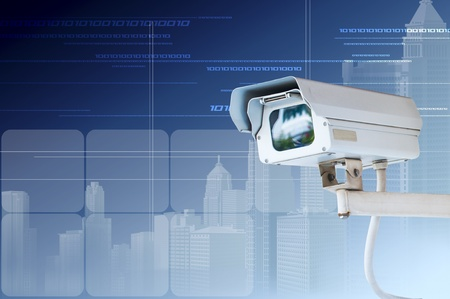 Security Camera or CCTV on digital background Stock Photo - 13525730