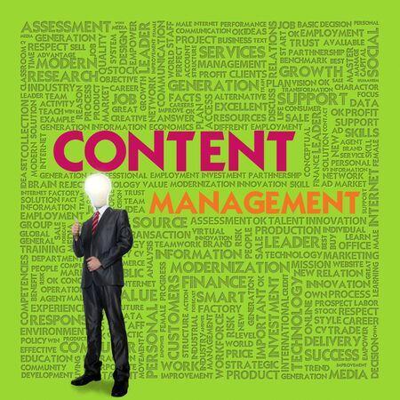 Business word cloud for business concept, content management photo