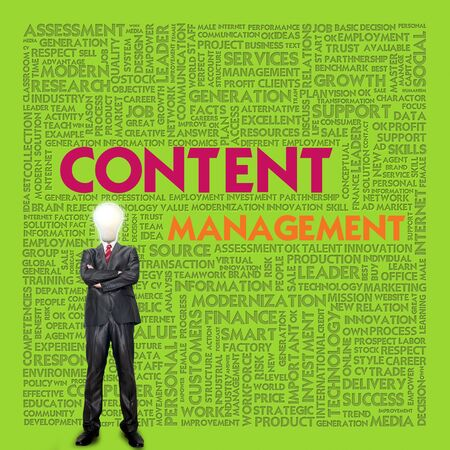 Business word cloud for business concept, content management photo