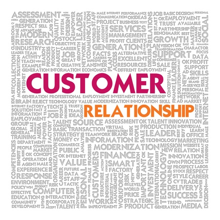 Business word cloud for business concept, Customer relationship photo
