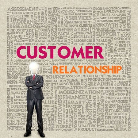 recycled paper: Business word cloud for business concept, Customer relationship