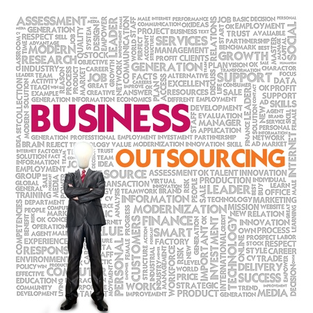 procure: Business word cloud for business concept, Outsourcing