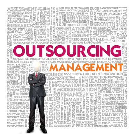 product development: Business word cloud for business concept, Outsourcing