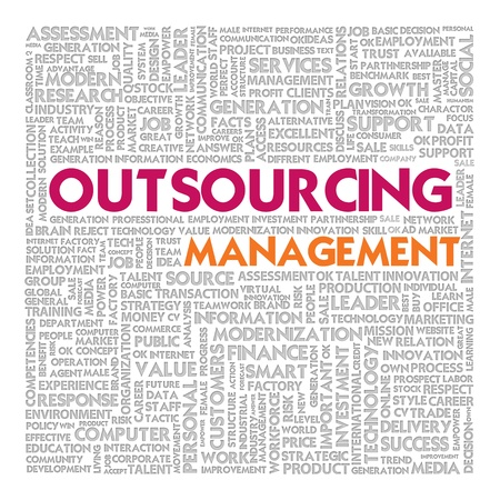 labor market: Business word cloud for business concept, Outsourcing
