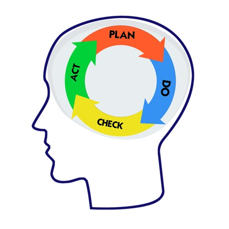 plan do check act: Head with PDCA model and Word cloud outside for business concept Stock Photo