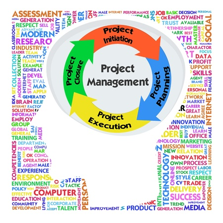 project management: Head with PRINCE2 model for project management Stock Photo