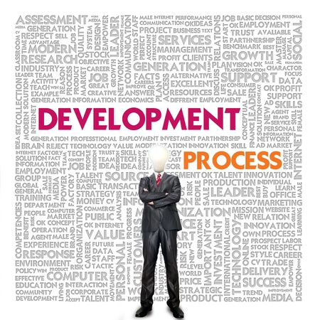 exceed: Business word cloud for business and finance concept, Development process Stock Photo