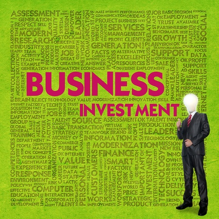 Business word cloud for business concept, Business investment photo