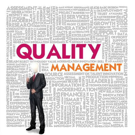 exceed: Business word cloud for business and finance concept, Quality Management Stock Photo