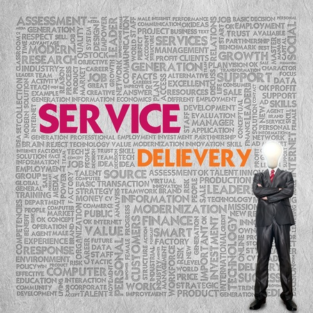 Business word cloud for business concept, service delivery photo