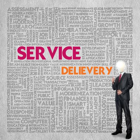 cloud tag: Business word cloud for business concept, service delivery Stock Photo