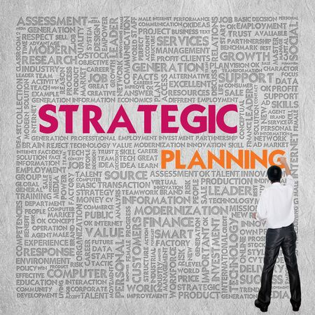 stratgy: Business word cloud for business concept, Strategic planning Stock Photo