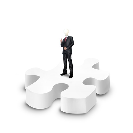 business man stand on a 3d puzzle over white background Stock Photo - 13525698