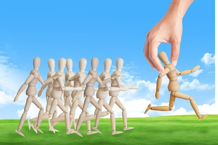 select: Hand choosing the perfect candidate for the job. Human resource concept