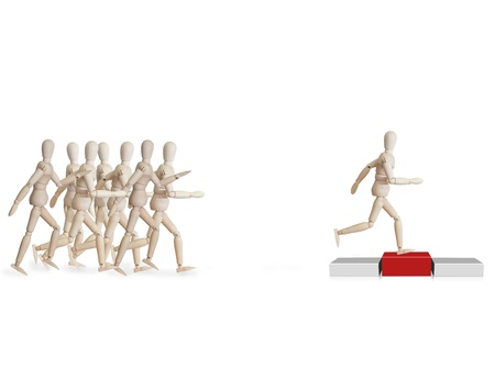Wooden model running to podium. Human resource and career concept photo