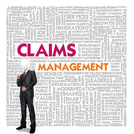 Business word cloud for business and insurance concept, Claims management photo