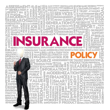 Business word cloud for business and insurance concept, policy photo