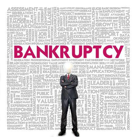 bankruptcy: Business word cloud for business concept, Bankrupt