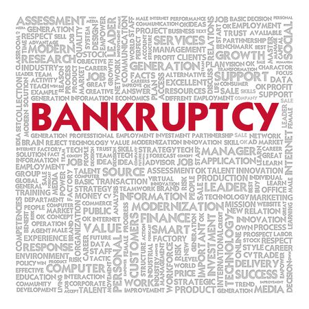 insolvency: Business word cloud for business concept, Bankrupt