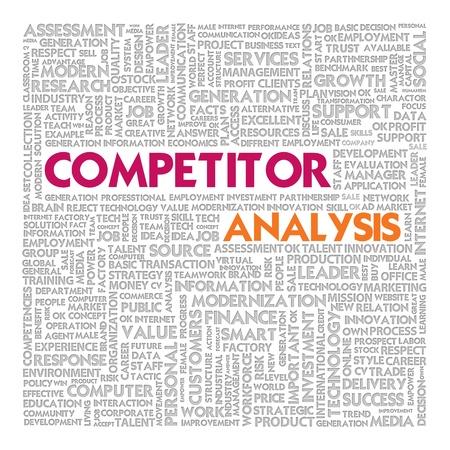 Zakelijk woord wolk voor business concept, concurrentie-analyse