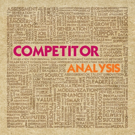 Business word cloud for business concept, Competitor analysis photo