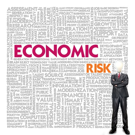 inflation: Business word cloud for business concept, Economic RIsk Stock Photo