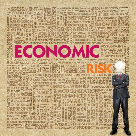 Business word cloud for business concept, Economic RIsk Stock Photo