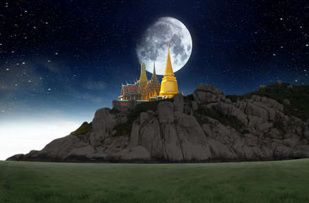 moutain: Thailand travel concept,supermoon over the sky Stock Photo
