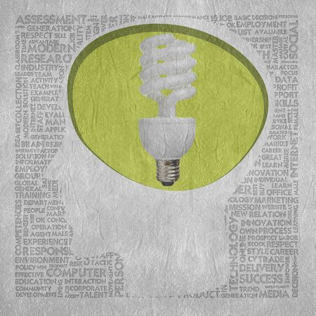 speach: Blank head with bulb brain speach and Word cloud outside for business concept